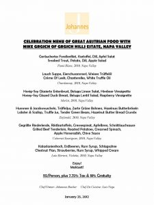 CELEBRATION MENU OF GREAT AUSTRIAN FOOD WITH MIKE GRGICH OF GRGICH HILLS ESTATE, NAPA VALLEY