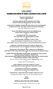 AUSTRIAN PRIX FIXE, UNCORKED, MAY 30-31 2012
